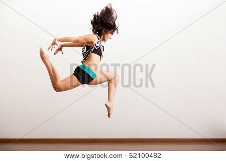 Jazz female dancer in the air