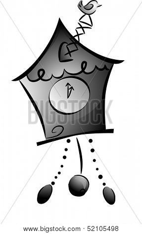 Black and White Illustration of a Cuckoo Clock with the Bird Sticking Out