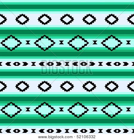 Striped mexican blanket seamless pattern in green, vector