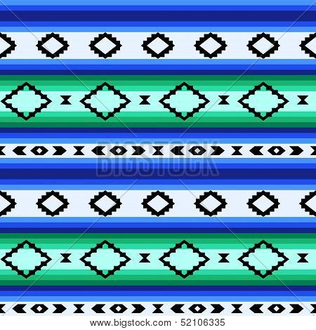 Striped mexican blanket seamless pattern in blue and green, vector
