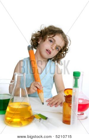 Beautiful Chemistry Little Girl Playing In Lab
