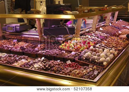Sweet Shop In Market. Barcelona. Spain