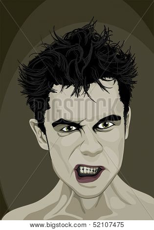 Angry man face at dark background