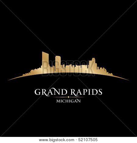 Grand Rapids Michigan City Skyline Silhouette Black Background