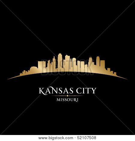 Kansas City Missouri Skyline Silhouette Black Background
