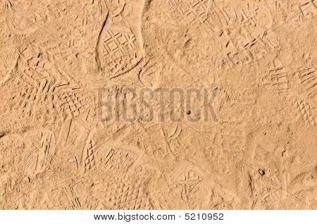 foot prints in dried mud