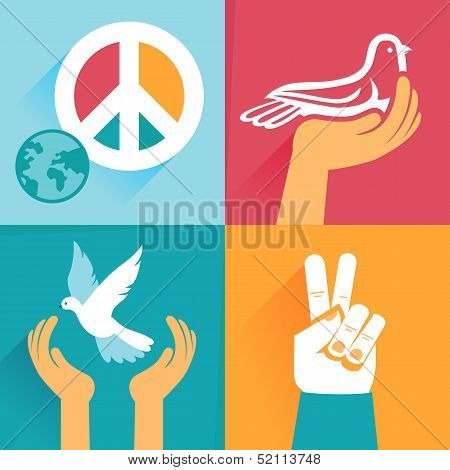 Vector Set Of Peace Signs And Symbols