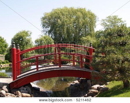 Red Japanese Garden Bridge
