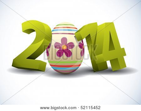 2014 Easter 3d Text with Easter Egg