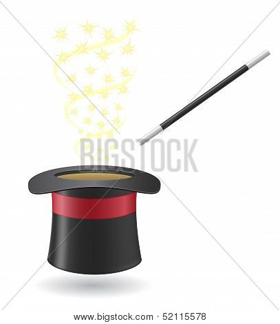 Magic Wand And Cylinder Hat Vector Illustration