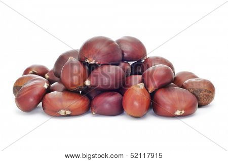 a pile of chestnuts on a white background