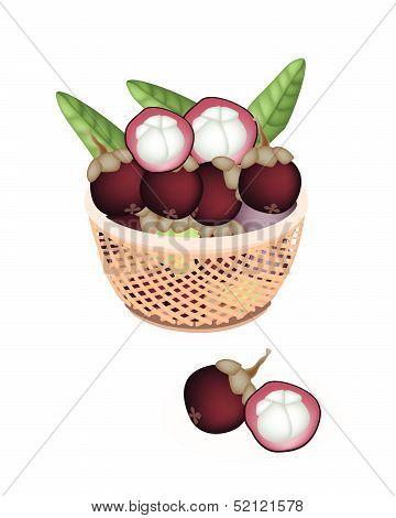 Brown Basket Of Fresh Purple Mangosteens