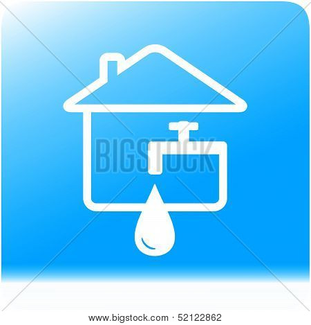 tap spigot with drop and house on water background