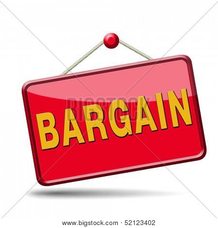 bargain icon or button. Lowest price and great sales deal and reduction or sale promotion with special price cut. red placard