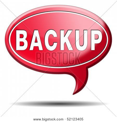 Backup data and software on copy in the cloud on a harddrive disk on a computer or server for file security. Copying document for safe storage. Icon sign or button.