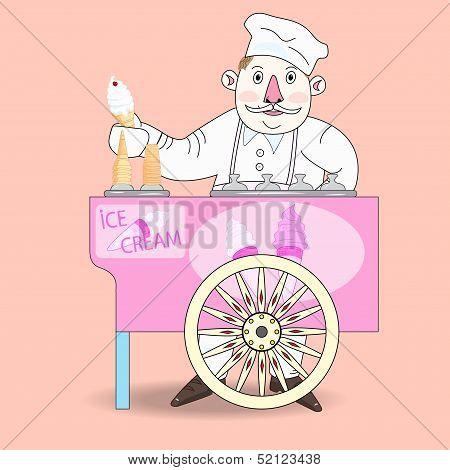 Ice Cream Vendor With Cart.