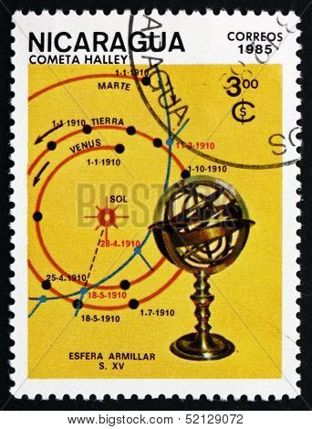 Postage Stamp Nicaragua 1985 Map Of Comet's Track