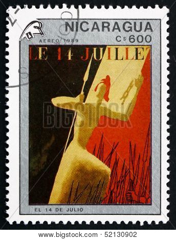 Postage Stamp Nicaragua 1989 14Th Of July, Painting