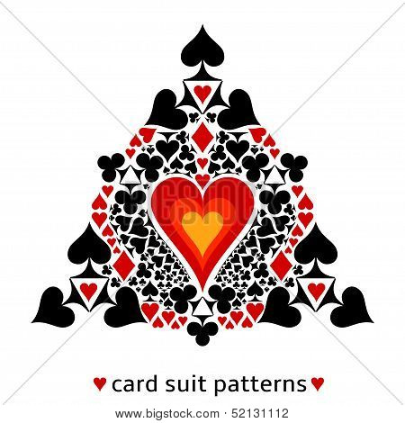 Heart card suit snowflake
