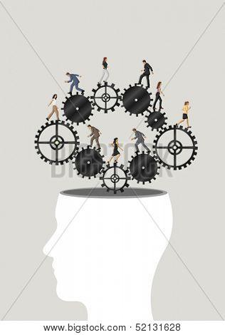 Green template of a human head with business people over machine gear wheel.  Cogwheel brain.
