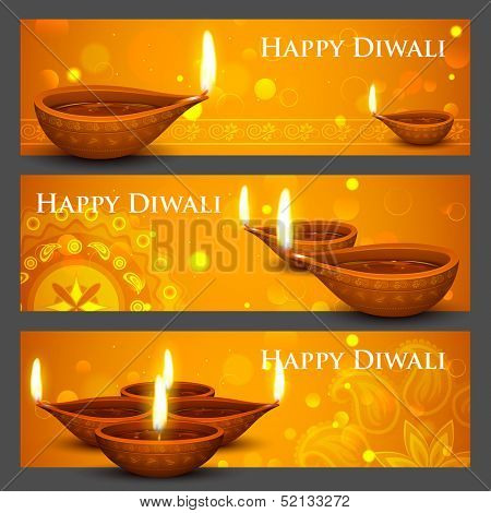 illustration of burning diya on Diwali Holiday banner