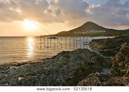 Sunset. Coral coast line at Kenting National Park, Taiwan, Asia.