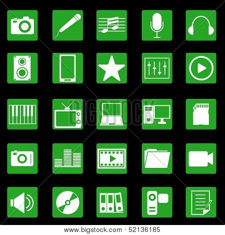 Media Icons On Green Button