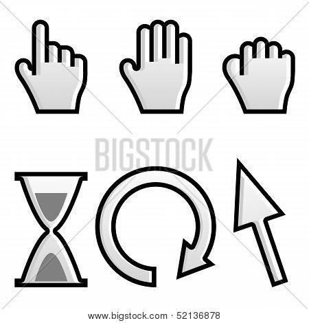 Web Hand And Arrow Cursor With Hour-glass.vector