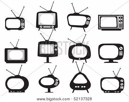 Black Retro Tv Icons Set