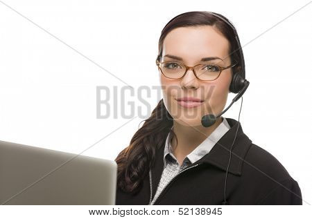 Helpful Mixed Race Receptionist In Front of Computer Wearing Phone Head-set Isolated on White Background.