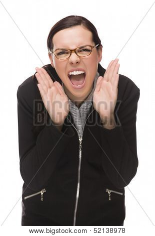 Angry Mixed Race Businesswoman Yelling at Camera Isolated on White Background.