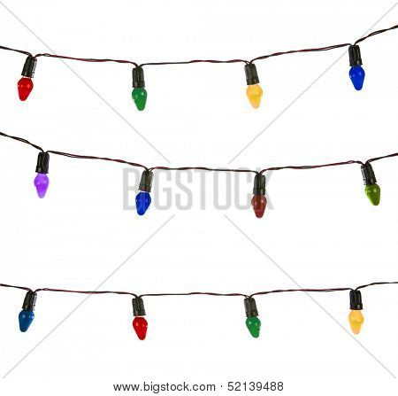 Christmas lights isolated on white, Vintage lights