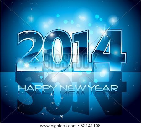 Vector Happy New Year 2014 blue colorful background eps 10