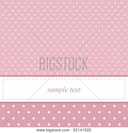 Pink vector party invitation card with white polka dots on pink background and white space for text