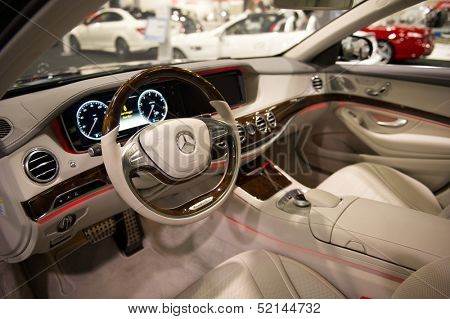 ANAHEIM, CA - OCTOBER 3: The interior of a Mercedes SL 550 on display at the Orange County International Auto Show in Anaheim, CA on October 3, 2013.
