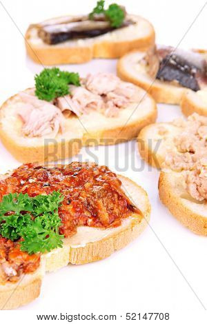 Tasty sandwiches with tuna and cod liver sardines different kinds of canned fish, isolated on white