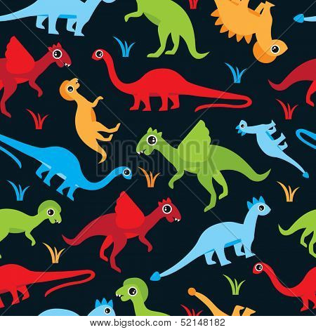 Seamless colorful dinosaur kids illustration background pattern in vector