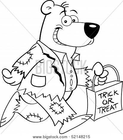 Cartoon bear in a costume