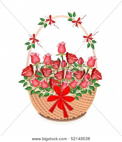 A Brown Basket of Lovely Red Roses