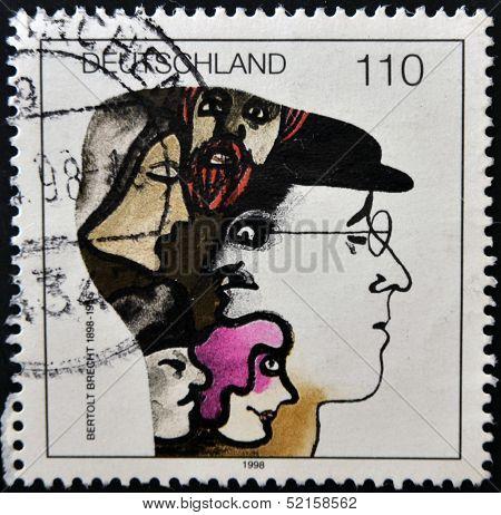 Germany - Circa 1998: Stamp Printed By Germany, Shows Bertolt Brecht , Circa 1998.
