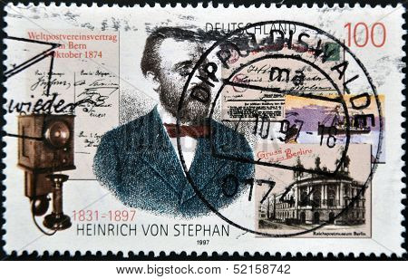Germany- Circa 1997: Stamp Printed By Germany, Shows Heinrich Von Stephan, Circa 1997