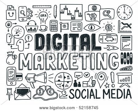 Digitale Marketing Doodle elementen Set