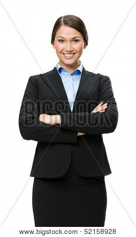 Half-length portrait of businesswoman with hands crossed, isolated. Concept of leadership and success