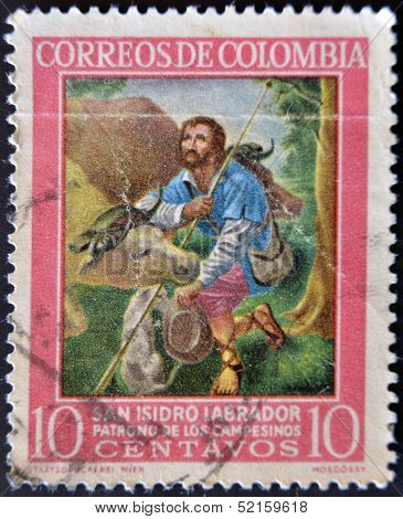 Colombia - Circa 1960: A Stamp Printed In Colombia Shows San Isidro Labrador, Patron Of Farmers
