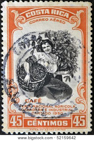 stamp dedicated to agricultural fair livestock and industrial Carthage shows a woman coffee