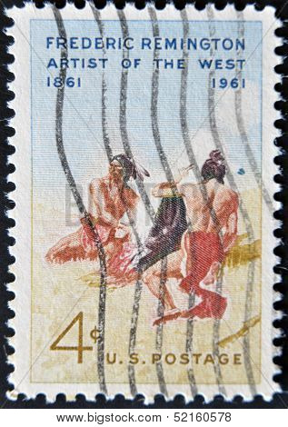 Usa - Circa 1961: A Stamp Printed In The Usa Showing Frederic Remington, Circa 1961