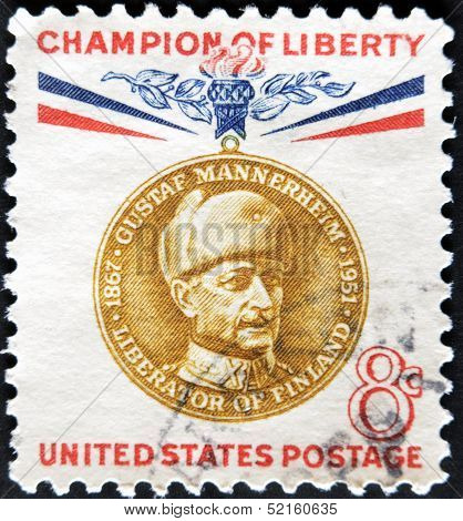 United States - Circa 1960: Stamp Printed In Usa, Shows Baron Gustaf Emil Mannerheim, Circa 1960