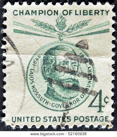 United States - Circa 1958: Stamp Printed In Usa, Shows Lajos Kossuth, Circa 1958