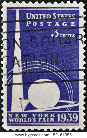 a stamp shows Trylon and Perisphere from New York World's fair 1939