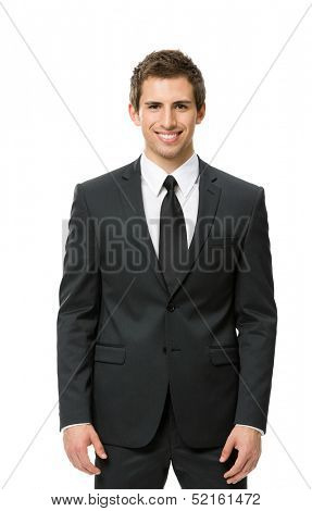 Half-length portrait of business man, isolated. Concept of leadership and success
